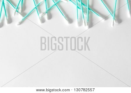 Cotton swabs isolated on white. Space for text