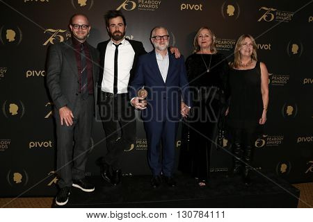 NEW YORK-MAY 21: (L-R) Damon Lindelof, Justin Theroux, Tom Perrotta, Mimi Leder and Ann Dowd attend the 75th Annual Peabody Awards Ceremony at Cipriani Wall Street on May 21, 2016 in New York City.