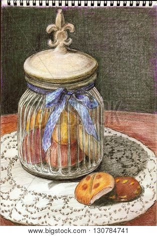Glass jar with homemade cookies - hand draw color pencils illustration