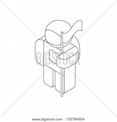 Astronaut in spacesuit with flag icon in isometric 3d style on a white background