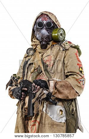 Nuclear post apocalypse. Studio shot of survivor in tatters