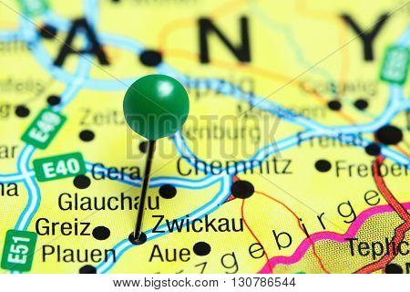 Zwickau pinned on a map of Germany