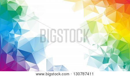 Colorful rainbow polygon background or vector frame. Rainbow colors.