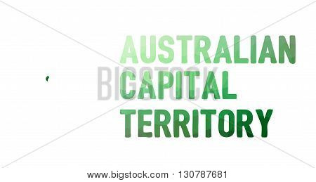 Green Polygonal Mosaic Map Of Australian Capital Territory, Act - Political Part Of Australia
