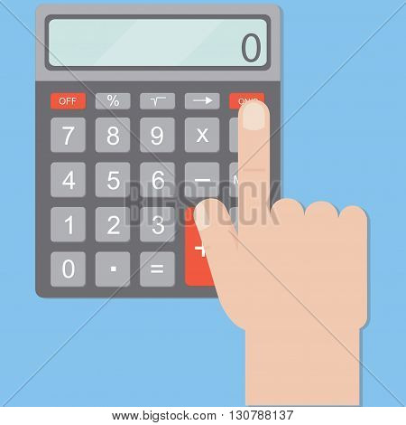 Hand includes a calculator. Calculator business man. Hand and calculator on a blue background in a flat style. Vector illustration.