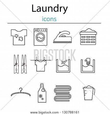 Laundry and washing icons. Laundry and laundry icons in the style of the line. Vector illustration.