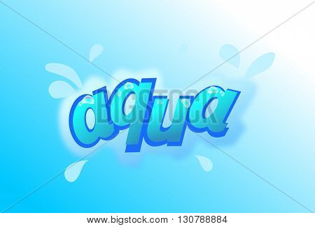 Illustration of aqua text with splash effect