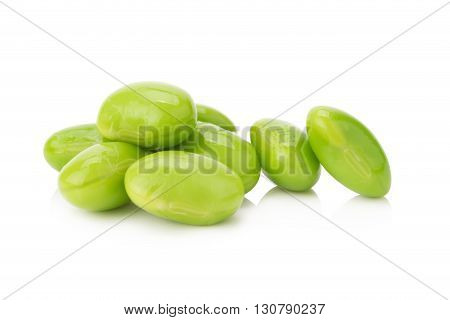 Boiled green soy beans vegetarian food isolated on white background.