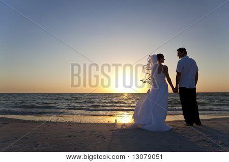 Bride & Groom Married Couple Sunset Beach Wedding