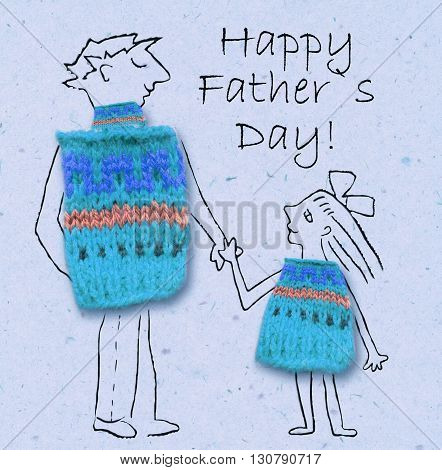 Father and daughter on a walk happy and smiling to each other. Happy father's day cartoon illustration with dad and daughter isolated on paper background.