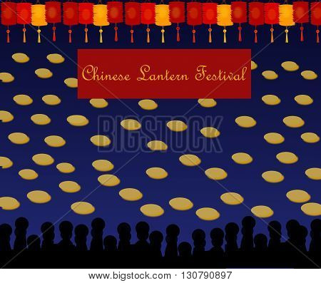 Chinese Lantern Festival. The image shows the Chinese sea, many lanterns at the top, a banner with the words