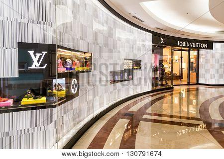 Kuala Lumpur, Malaysia, May 20, 2016: A Louis Vuitton Lv Outlet In Klcc, Kuala Lumpur., With Selecti