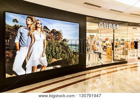 Kuala Lumpur, Malaysia, May 20, 2016: Guess Outlet At Klcc Shopping Mall, Kuala Lumpur.  Guess Is An