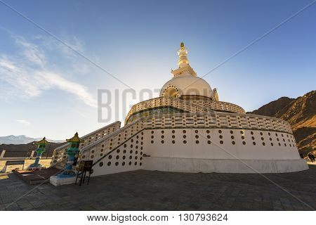 The Shanti Stupa in twilight time in Leh Ladakh,India