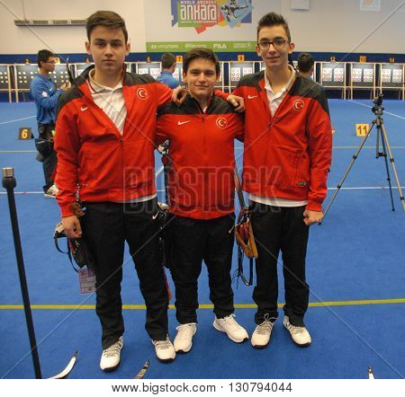 ANKARA/TURKEY-MARCH 1 2016: Young members of Turkey's National Archers' team at the ATO Congresium Hall of The 2016 World Archery Indoor Championships. March 1, 2016-Ankara/Turkey