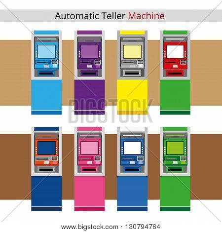 Vector Illustration Automatic Teller Machine or ATM Machine