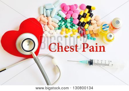 Syringe with drugs for chest pain treatment