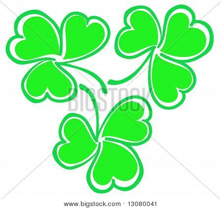 a group of green shamrock leaves