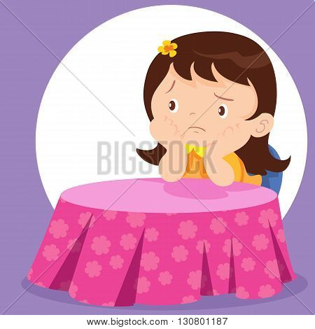 Cute girl waiting alone.Bored Girl Alone at Restaurant.Girl thinking.Girl sitting and thinking.Childern Girl waiting someone.