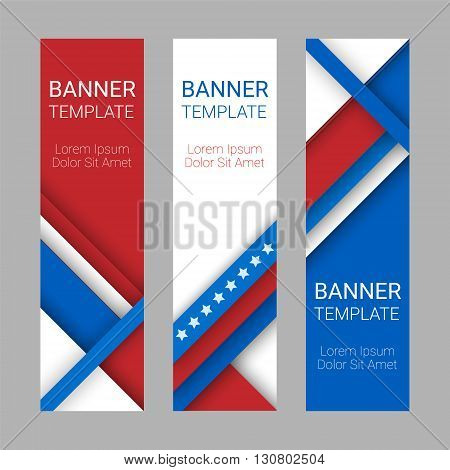 Set of modern vector vertical banners page headers with stripes and stars in the colors of the American flag. Material design banners for Presidents day USA Independence day