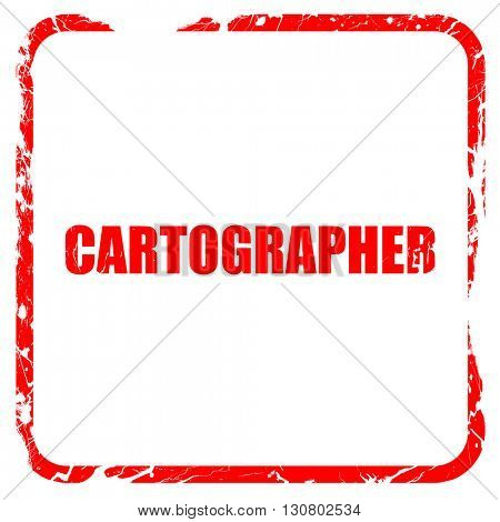 cartographer, red rubber stamp with grunge edges