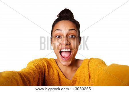 Excited Young African Lady Taking Selfie And Laughing