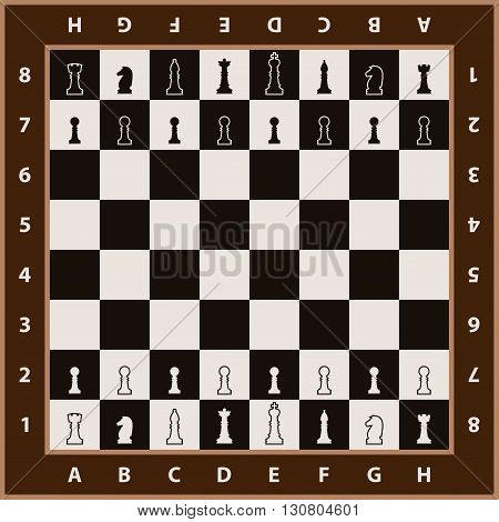Chessboard background. Chess board with chess figures. Chess element on chessboard ready for game. Vector illustration.