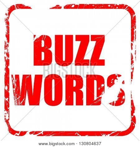 buzzword, red rubber stamp with grunge edges