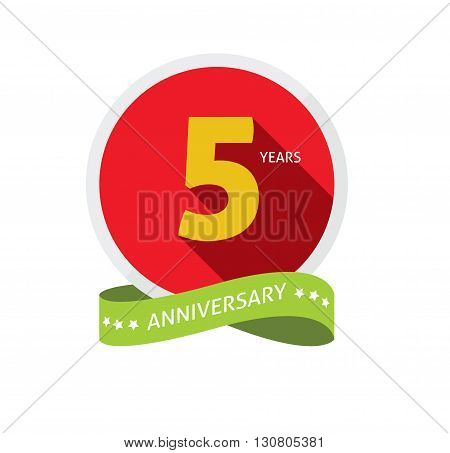 5th anniversary logo badge template with shadow number 5 five. 5 years birthday flat icon. Five years party symbol. Fifth anniversary vector , sticker, ribbon, banner, poster, logotype, emblem, tag