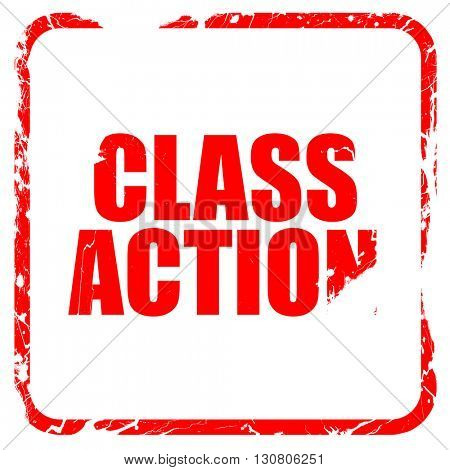 class action, red rubber stamp with grunge edges