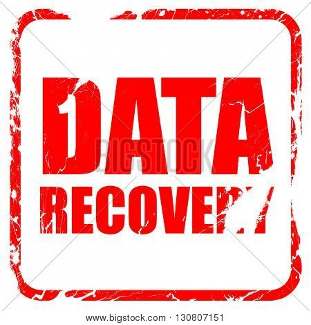 data recovery, red rubber stamp with grunge edges