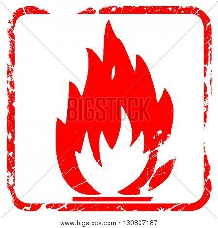 Flammable hazard sign, red rubber stamp with grunge edges