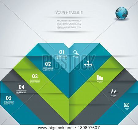 Infographic Design Template With Folded Paper Tags.