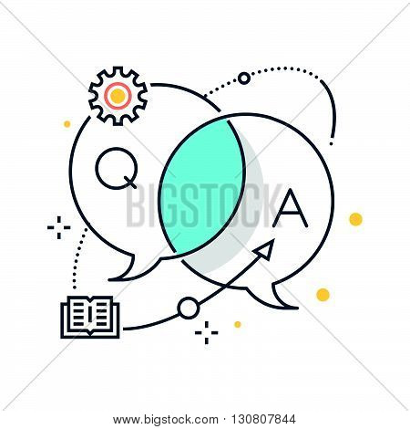 Color Line, Business Dialog Concept Illustration, Icon