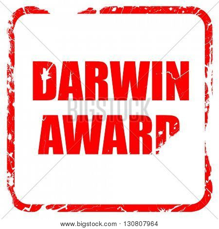 darwin award, red rubber stamp with grunge edges
