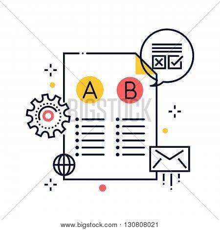 Color Line, Split Test Concept Illustration, Icon