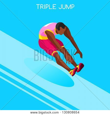 Athletics Triple Jump Summer Games Icon Set.3D Isometric Athlete.Sporting Championship International Athletics Competition.Sport Infographic Athletics Triple Jump Vector Illustration