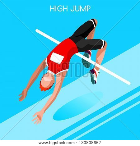 Athletics High Jump Summer Games Icon Set.3D Isometric Athlete.Sporting Championship International Athletics Competition.Sport Infographic Athletics High Jump Vector Illustration