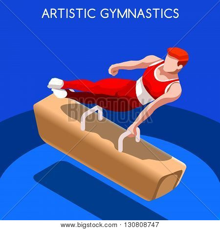 Artistic Gymnastics Pommel Horse Summer Games Icon Set.3D Isometric Gymnast.Sporting Championship International Competition.Sport Infographic Artistic Gymnastics Vector Illustration