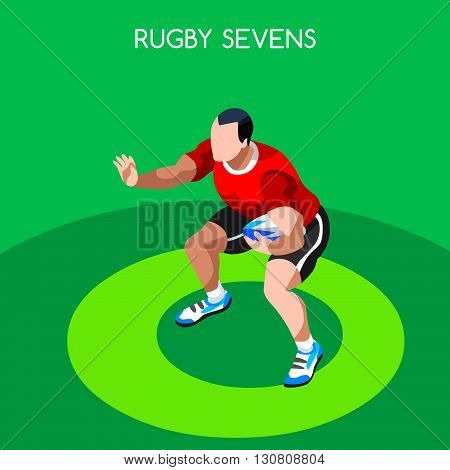 Rugby Sevens Summer Games Icon Set.3D Isometric Player Athlete.Sporting Championship International Rugby Competition.Sport Infographic Rugby Sevens Vector Illustration
