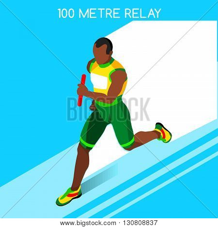 Running Men Relay of Athletic Summer Games Icon Set.Speed Concept.3D Isometric Athlete.Sport of Athletics.Sporting Competition Race Runner.Sport Infographic Track Field Vector Illustration.