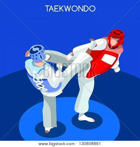 Taekwondo Summer Games Icon Set.3D Isometric Athlete.Sporting Championship International Martial Art Competition.Sport Infographic Taekwondo Vector Illustration