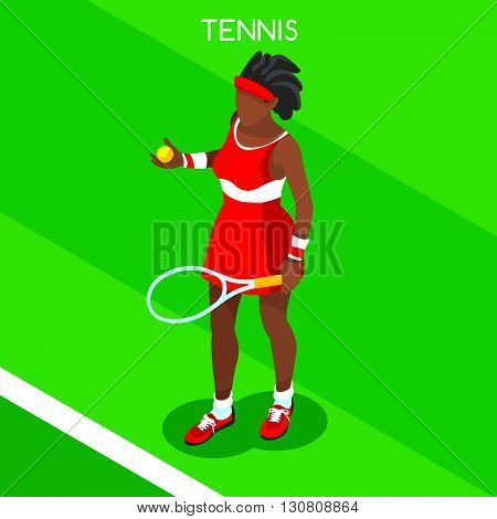 Tennis Player Summer Games Icon Set.3D Isometric Tennis Player.Sporting Championship International Tennis Competition.Sport Infographic Tennis Vector Illustration