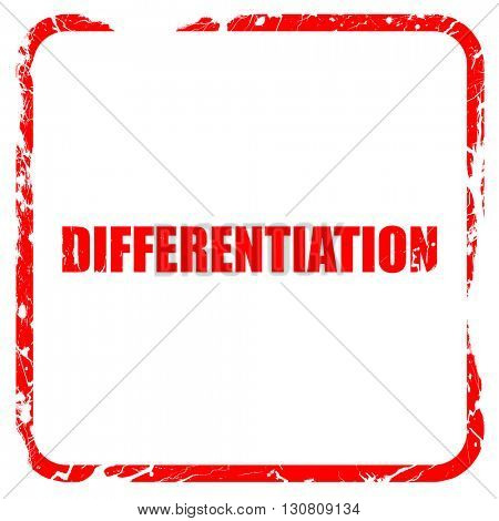 differentiation, red rubber stamp with grunge edges