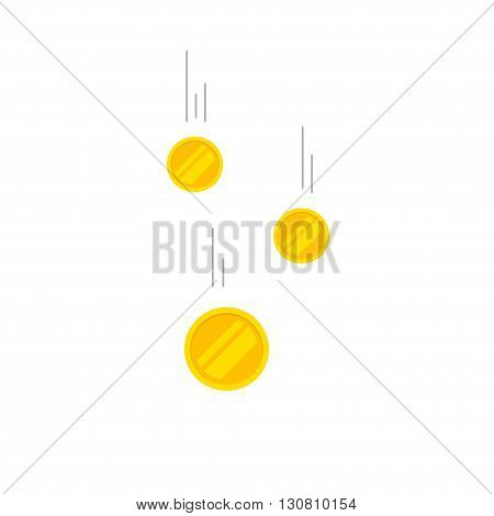 Falling coins money vector illustration, flying gold coins with gray track, coins dropping abstract golden rain concept modern flat cartoon design isolated on white background