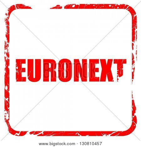Euronext, red rubber stamp with grunge edges