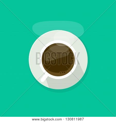 Coffee cup top view isolated on blue background, coffee cup vector illustration, glass coffee cup icon, coffee mug white, coffee cup flat