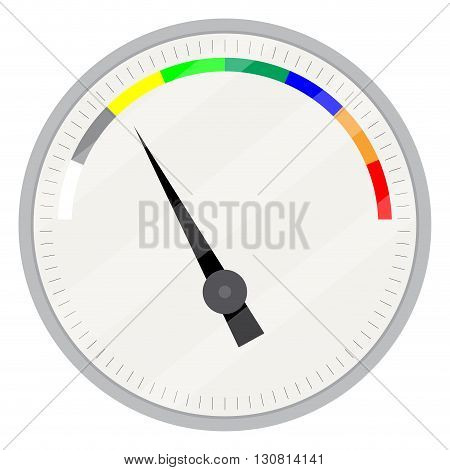Spectrum indicator device. Index and pointer arrow indicator measure control technology measurement spectrum and power panel device. Vector flat design illustration