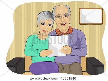 Portrait of happy senior couple reading letter togetherer