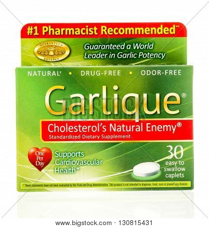 Winneconne WI - 19 May 2016: Package of Garlique garlic caplets on an isolated background